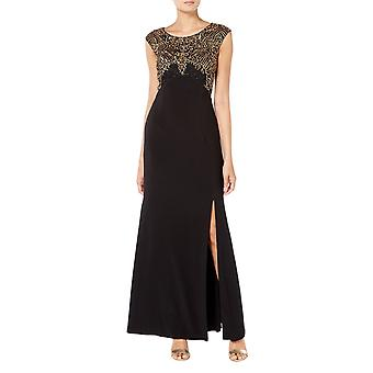 Maxi gown with gold bodice and slit