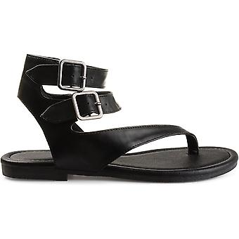 Brinley Co Womens Keelan Faux Leather Buckle Double Wrap Thong Sandals