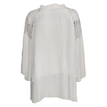 Masseys Women's Plus Top Lace Inset Pleated Blouse White