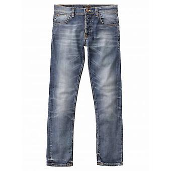 Nudie Jeans Grim Tim gedragen in Broken Blue Jean