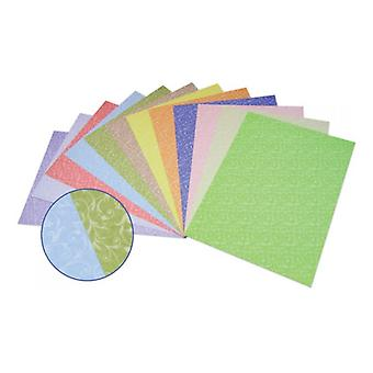 12 Assorted Colour A4 Flourishes Two-Sided Card Sheets | Coloured Card for Crafts
