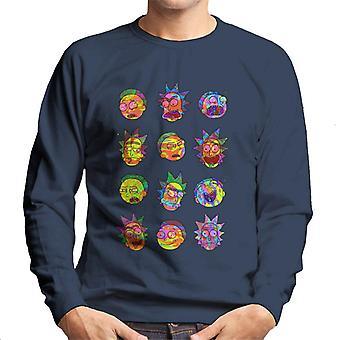 Rick og Morty farverige ansigter mænd ' s sweatshirt