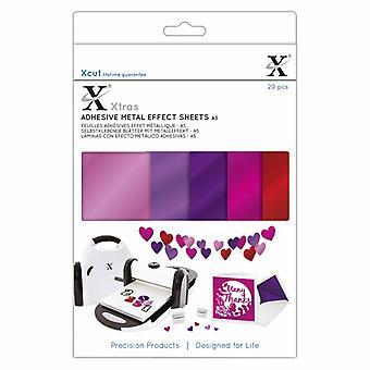 Xcut Xtra's A5 Adhesive Metal Effect Sheets Pinks (20pcs) (XCU 174422)