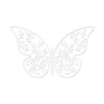 10 Pearl Ivory 8cm Card Leaf Detailed Butterfly