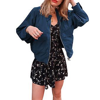 Women's Ladies Solid Slim Fit Punk Retro Leather Jacket