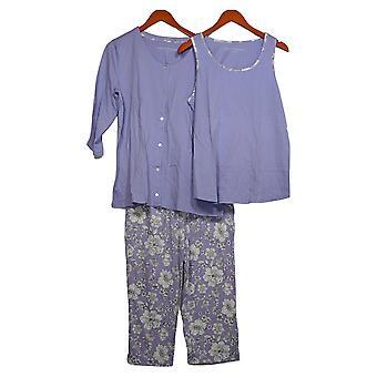 Carole Hochman Women's Pajama Set Soft Blossoms Capri 3-Pc Purple A373455