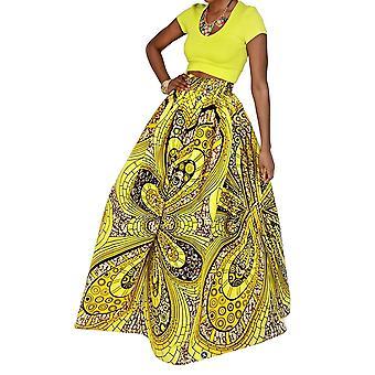 Hoohu Womens Bohemian African Floral Print High Waist Pleated Hem Full/Ankle ...