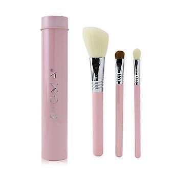 Sigma Beauty Essential Trio Brush Set - # Pink 3pcs+1 Tin