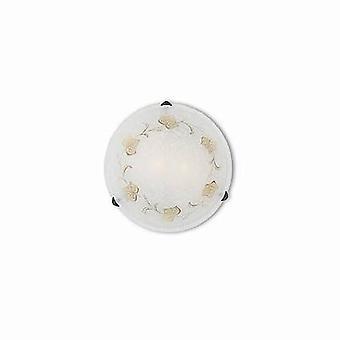 Ideal Lux Foglia - 2 luz de pared media interior ligera / luz de techo con vidrio decorado en blanco, E27