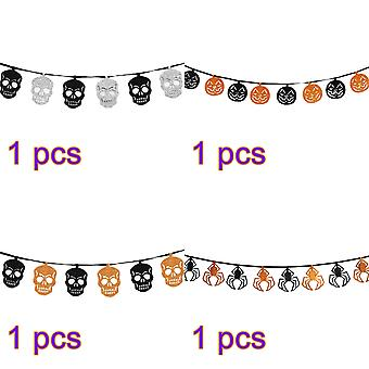 Halloween decoration interior set, skeleton spider string flag party,