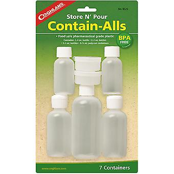 Coghlan's Store N' Pour Contain-Alls (7 Pack), Reusable Bottles and Containers