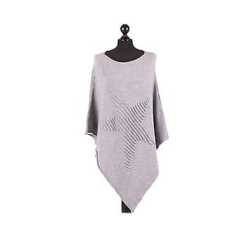 Orla Knitted Star Poncho | Grey | One Size