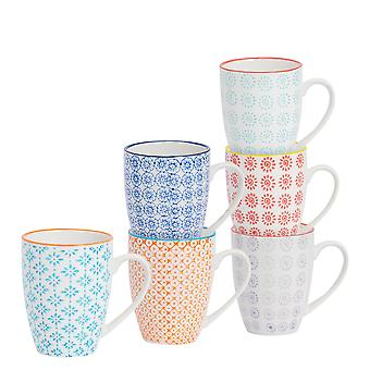 Nicola Spring 6 Piece Hand-Printed Tea and Coffee Mug Set - Japanese Style Porcelain Latte Mugs - 6 Colours - 320ml