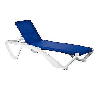 Resol Marina Garden Sun Lounger Bed - Adjustable Reclining Outdoor Patio Canvas Furniture - Blue