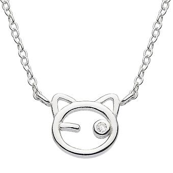 Dew Silver Dinky Cat Face With Cubic Zirconia 16 + 2 Necklace 9407CZ027
