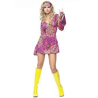 Hippie Girl Love Child 1970s 1960s Hippy Psyhcedelic Retro Women Costume