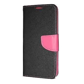 iPhone 12 Mini Wallet Case Fancy Case Zwart-Roze