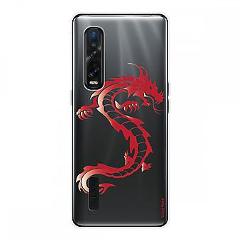 Hull For Oppo Find X2 Pro In Silicone Soft 1 Mm, Red Dragon