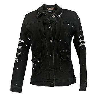 Vrouwen met Control Women's Denim Affirmation Sleeve Jacket Black A375913