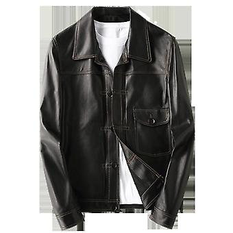 Petyr genuine men sheepskin leather coat