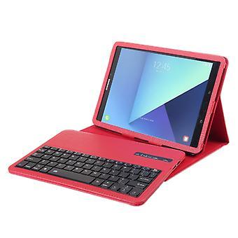 ل Galaxy Tab S3 9.7 / T820 2 في 1 لوحة مفاتيح بلوتوث قابل للفصل الجلود الليتشي مع حامل (أحمر)