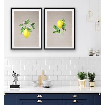 Lemons On Linen - Two Piece Lemon Watercolour Linen Kitchen Wall Art Print