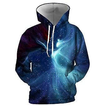 Mens 3d Colorful Galaxy Printed Cerulean Blue Hoodies With Pockets