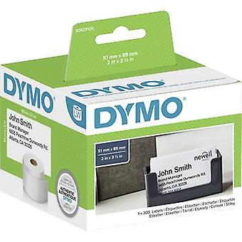 DYMO etikettrulle S0929100 S0929100 89 x 51 mm papper vit 300 PC (s) icke-adhesiva Mötes kort, visitkort