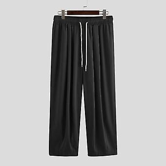 Men Wide Leg Pants, Drawstring Joggers Plain Pockets, Casual Trousers, Men