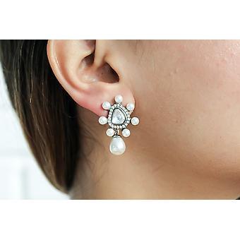 Kundan krištáľové a perlové náušnice