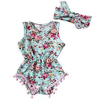 赤ちゃんの女の子ロンパー夏花のヘッドバンドとジャンプスーツの衣装