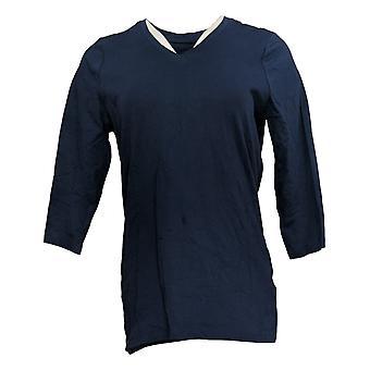 الدنيم وشركاه المرأة & ق أعلى أساسيات Anywear V-الرقبة 3/4 كم الأزرق A383275