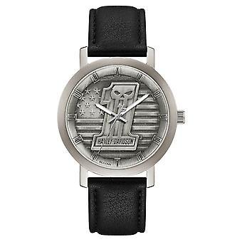Harley Davidson 76A163 Men's Skull Stars & Stripes Wristwatch