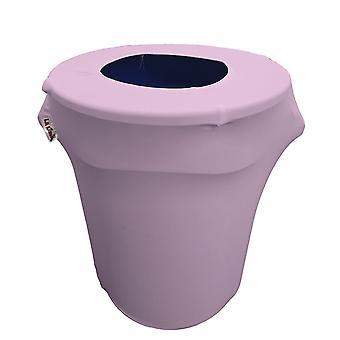 La Linen Stretch Spandex Trash Can Cover 32-Gallon Round,Lilac