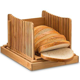 Bamboo Bread Slicer With Knife Cutting Guide For Homemade Bread, Cakes, Bagels