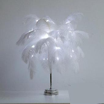 Diy Creative Feather Table Lamp Warm White Light
