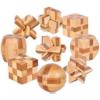 Gracelaza Denksportaufgaben Cube - Knobelspiele Set - Bambus spielzeug - 3D Puzzle - Geduldspiel aus