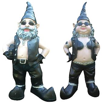 Gnomes Biker Dude & Babe Motorcycle Gnome Garden Biker Gnome Couple Statues Resin 16cm