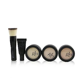 Meet your match 3 step foundation kit (face primer+ 2x pressed base+perfecting powder+mini kabuki brush) # beige (light / medium) 260446 5pcs