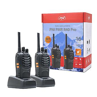 Kit of 6 portable radio stations PNI PMR R40 PRO batteries, chargers and headphones included