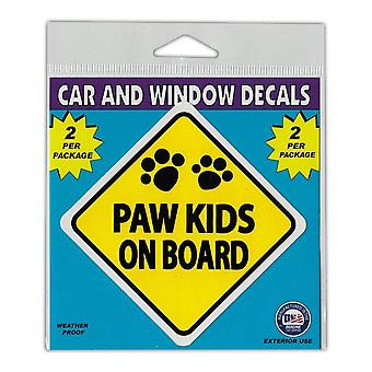 "Window Decals, 2-pack, Caution Paw Kids On Board, 3"" X 3"""