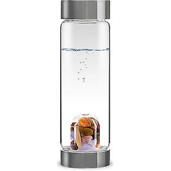 HanFei ViA 5 ELEMENTS - Wasserflasche mit Amethyst, Chalcedon, Versteinertes Holz, Rosenquarz
