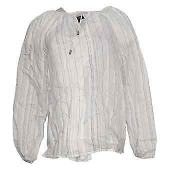 NYDJ Jersey superior de mujer blusa campesina de manga larga blanco A374781