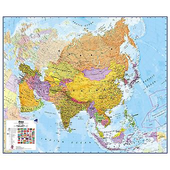 Stor Asien vägg karta politisk (papper)