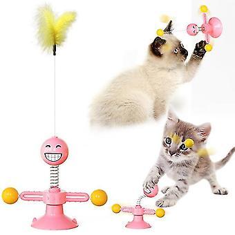 Pembe çok işlevli emici interaktif kedi oyuncak emoji bahar komik kedi oyuncak x3819