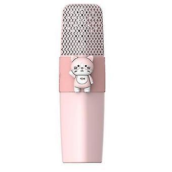Kissa vaaleanpunainen k9 langaton bluetooth mikrofoni ktv laulaa lapset sarjakuva mikrofoni az6227
