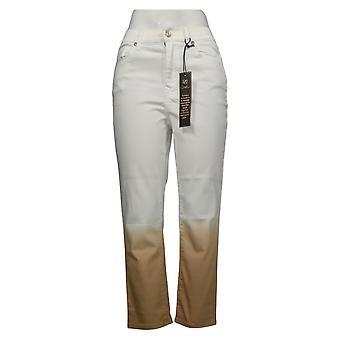 DG2 by Diane Gilman Women's Jeans Classic Stretch Dip Dye Crop White 743663