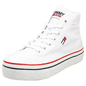 Tommy Jeans Mid Flatform Vulc Womens Flatform Trainers in White
