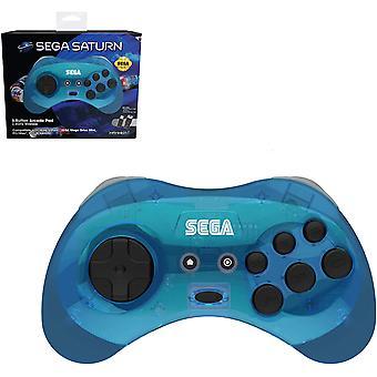 Retro-bit virallinen SEGA Saturn sininen langaton ohjain 8-painikkeinen arcade pad Sega Mega Drivelle