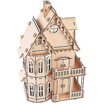 Quebra-cabeça de madeira 3D para adultos gótico villa legal kit modelo de madeira casa decorações kits de montagem artesanal adulto presentes dt6020